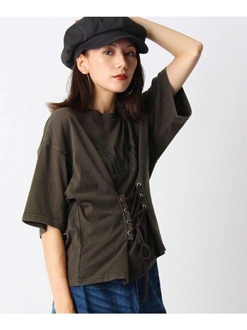 【SALE/70%OFF】OZOC コルセット風ロックTシャツ オゾック カットソー【RBA_S】【RBA_E】