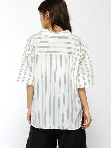 CHILLEストライプ半袖スキッパーシャツ