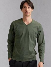 UNITED ARROWS green label relaxing CMオーガニッククリアVネック長袖Tシャツ ユナイテッドアローズ グリーンレーベルリラクシング カットソー Tシャツ カーキ ホワイト ブラック ベージュ レッド