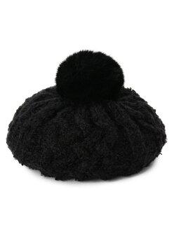 有OZOC毛皮的電纜編織物貝雷帽ozokku帽子/頭髮小東西
