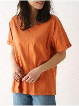 chick袖刺繍VネックTシャツ