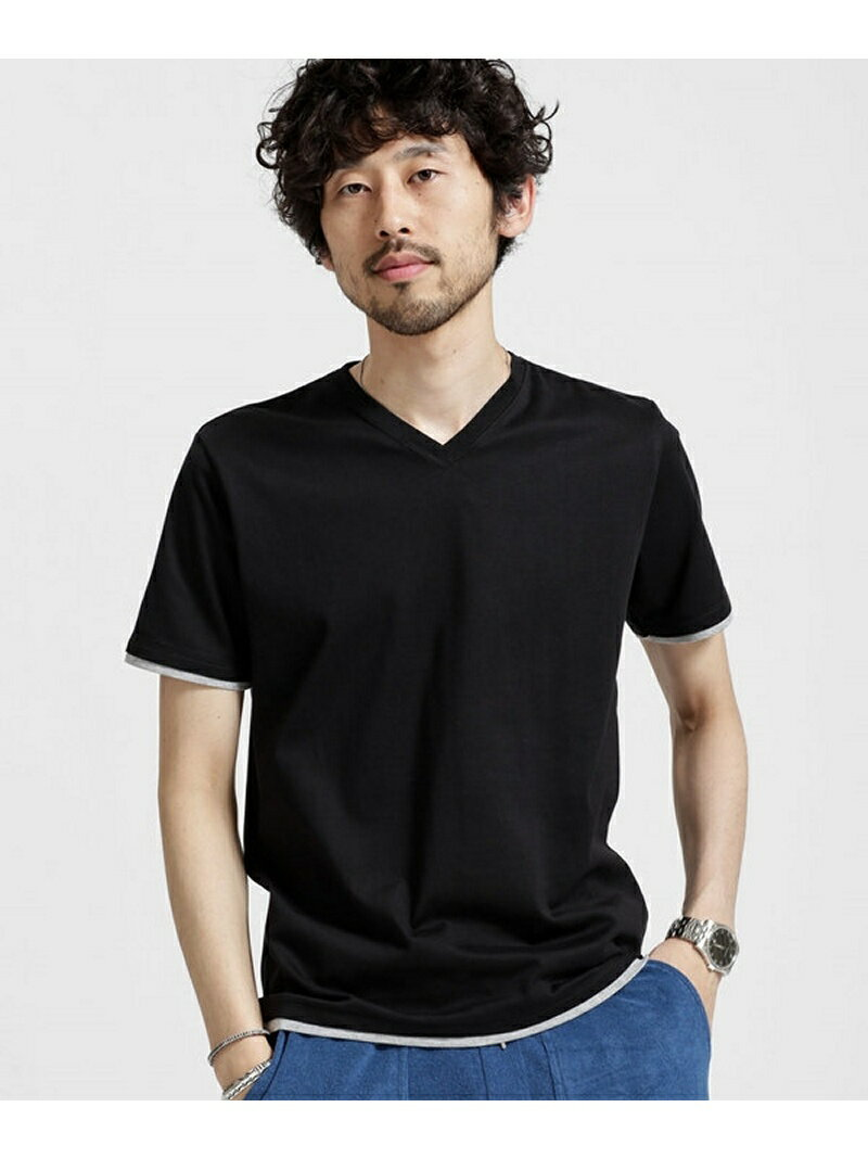 【SALE/10%OFF】フェイクレイヤードVネックTシャツ ナノユニバース カットソー【RBA_S】【RBA_E】
