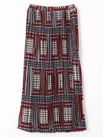 【SALE/37%OFF】Grand PARK NICOLE ボックス柄ロング丈プリーツスカート ニコル スカート ロングスカート レッド グリーン ネイビー