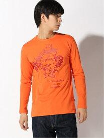 【SALE/30%OFF】Orobianco Orobianco/コロナモチーフ長袖Tシャツ フレイ カットソー Tシャツ オレンジ グリーン ホワイト【送料無料】