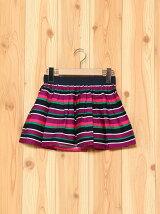 (K)KIDSマルチボーダー柄ギャザースカート