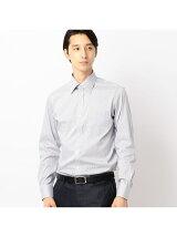 レギュラーカラー長袖ドレスシャツヘアラインストライプ