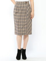 EMILYAN スカート/(W)グレンチェックラップスカート