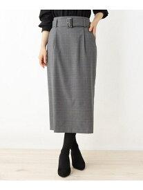 【SALE/6%OFF】grove 共地ベルト付きタイトスカート グローブ スカート スカートその他 ブラック ブラウン【送料無料】