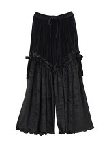 VELOURS RUFFLE WIDE TROUSERS