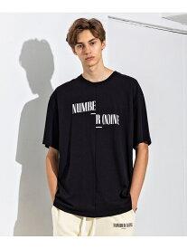 【SALE/40%OFF】NUMBER (N)INE DENIM スプリットロゴビッグTS シフォン カットソー Tシャツ ブラック ホワイト