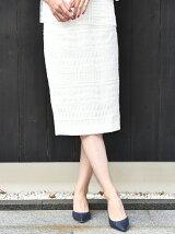 オーガンジー幾何学柄刺繍スカート