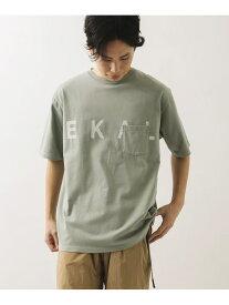 EKAL EKAL ロゴプリントポケットTシャツ アーバンリサーチドアーズ カットソー Tシャツ グレー ベージュ【送料無料】