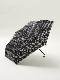 Afternoon Tea ドットボーダー折りたたみ傘 雨傘 アフタヌーンティー・リビング ファッショングッズ 日傘/折りたたみ傘 ネイビー ホワイト ブルー