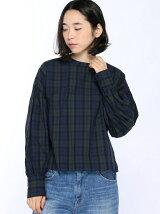 (W)チェックギャザーPOシャツ