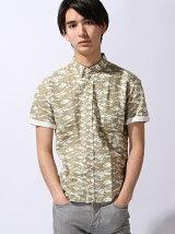 綿麻半袖カモBDシャツ