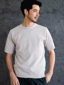 【SALE/50%OFF】UNITED ARROWS green label relaxing ETHT/COミニポップコーンクルーニットTシャツ<機能性/手洗い可能> ユナイテッドアローズ グリーンレーベルリラクシング ニット 半袖ニット グレー ベージュ ブルー ネイビー