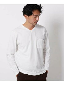THE SHOP TK 機能付きVネックロングプルオーバー ザ ショップ ティーケー カットソー Tシャツ ホワイト ブラック