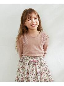 【SALE/20%OFF】any FAM KIDS 【90-130cm】チュールフリル 長袖Tシャツ エニィファム カットソー Tシャツ ピンク ホワイト ブラウン グリーン