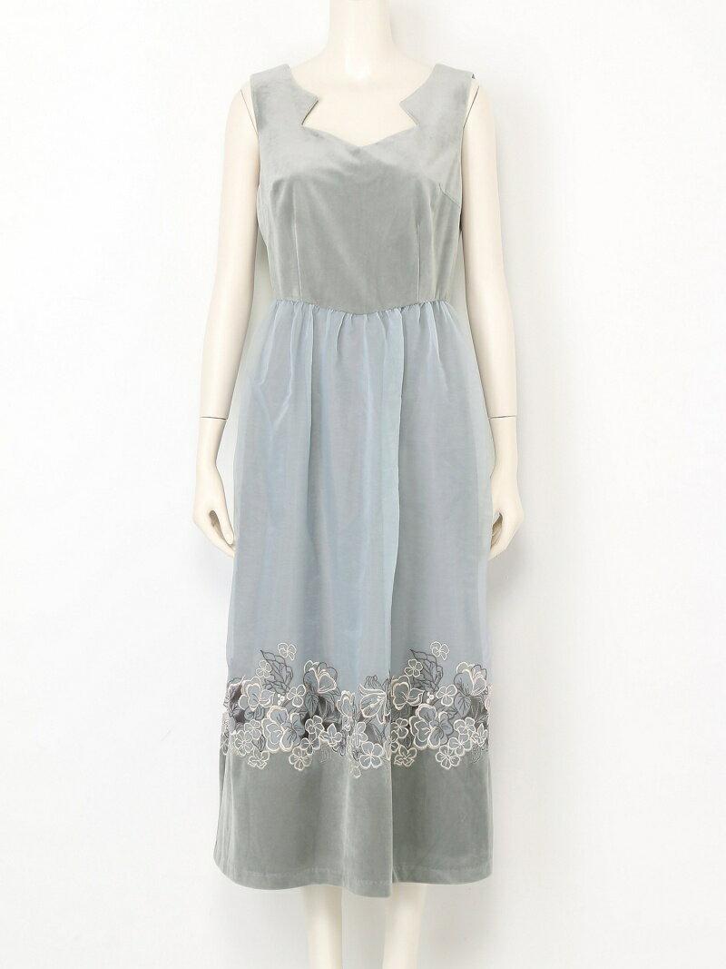刺繍シースルーロングドレス