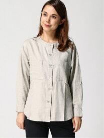 【SALE/19%OFF】LAKOLE (W)LRバンドカラーシャツ ラコレ シャツ/ブラウス 長袖シャツ グレー ホワイト