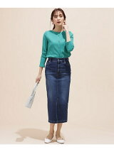 I-line slim fit denim skirt