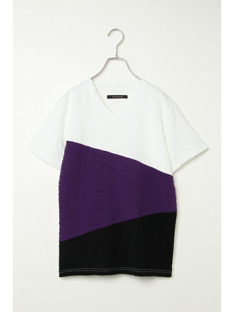 VENCE share style MENs フクレジャガード切り替えTシャツ ヴァンス エクスチェンジ カットソー
