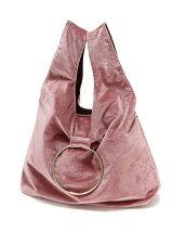リング付ベロア巾着バッグ