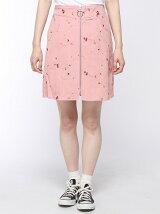 フロントジップ刺繍台形スカート