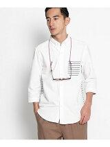 無地×ボーダーミックス7分袖シャツ