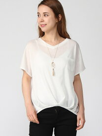 【SALE/70%OFF】Lilou de chouchou ポケ付切替Tシャツ リルデシュシュ カットソー Tシャツ ホワイト ブラック オレンジ ブラウン
