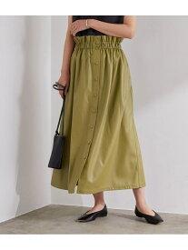 【SALE/60%OFF】ADAM ET ROPE' フロントボタンレザースカート アダムエロペ スカート スカートその他 カーキ ブラック【送料無料】