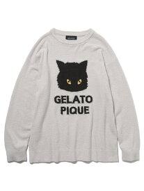 gelato pique 【LADIES】【Halloween限定】クロネコジャガードプルオーバー ジェラートピケ インナー/ナイトウェア ルームウェア/トップス グレー【送料無料】