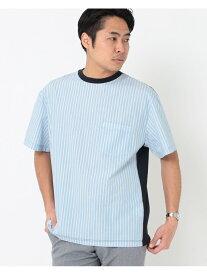 【SALE/55%OFF】BEAMS LIGHTS BEAMS LIGHTS / パネル切替え ストライプ Tシャツ(日本製) ビームス アウトレット カットソー Tシャツ ネイビー