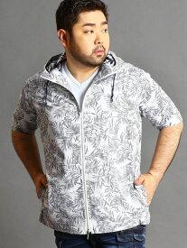 HIDEAWAYS(大きいサイズ) <大きいサイズ>サッカープリント半袖パーカー ニコル シャツ/ブラウス 七分袖シャツ レッド【送料無料】