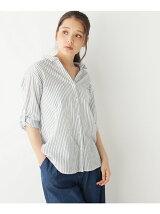 スキッパーシャーリング七分袖シャツ