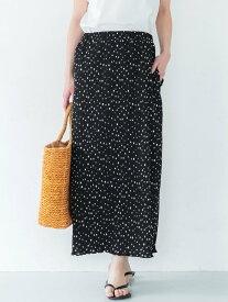 coca ドットプリーツスカート コカ スカート プリーツスカート/ギャザースカート ブラック ブラウン
