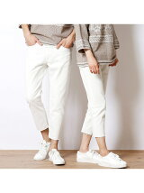 裾ほどきホワイトデニムパンツ