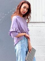 CHILLE袖二段フリルTシャツ