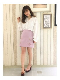 【SALE/92%OFF】dazzlin 刺繍台形スカート ダズリン スカート フレアスカート ピンク ブルー
