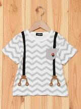 トロンプサスペンダージグザグプリント半袖Tシャツ