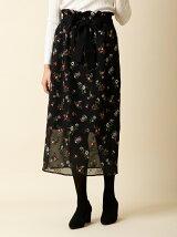 フラワー刺繍シースルースカート