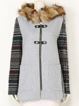 格子柄袖のコート