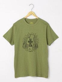 【SALE/50%OFF】coen サマープリントTシャツ コーエン カットソー Tシャツ カーキ ホワイト