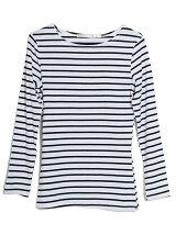 aimoha/ベーシックロングスリーブボートネックボーダーTシャツ