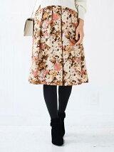 花柄シャンタンフレアースカート
