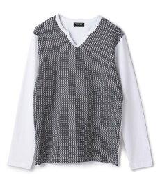 【SALE/50%OFF】MEN'S BIGI キーネック長袖Tシャツ/JAPAN MADE メンズ ビギ カットソー Tシャツ ホワイト ネイビー【送料無料】