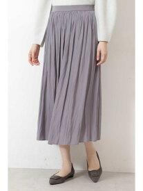 NATURAL BEAUTY BASIC [洗える]サテンギャザーミディスカート ナチュラルビューティベーシック スカート スカートその他 ブラウン ブルー【送料無料】