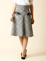 ローズ刺繍グレンチェック柄スカート