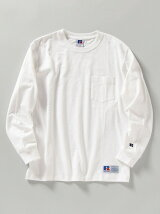 【WEB限定/SHIPS別注】RUSSELL ATHLETIC: ピグメント加工 クルーネック  ロングスリーブ Tシャツ (ロンT) 21SS