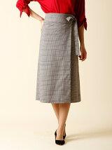 【13号】ベルト付きIチェックラインスカート